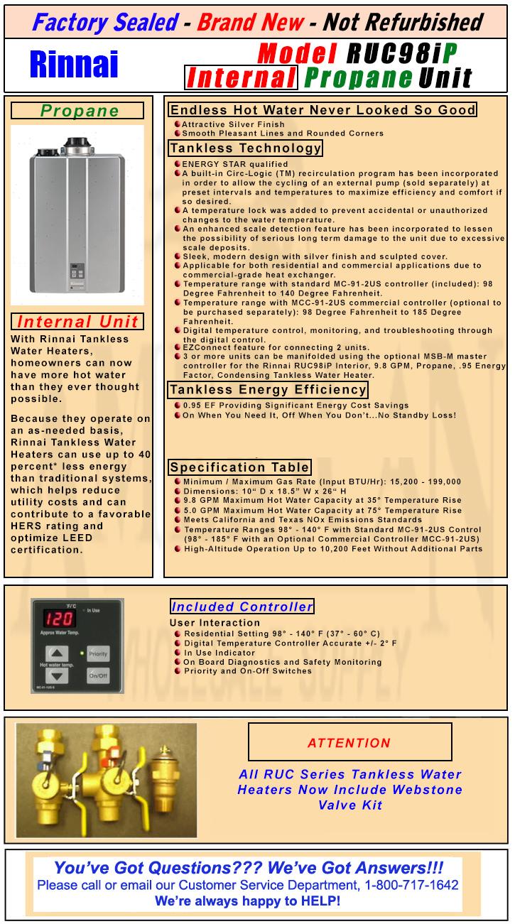 Rinnai Ruc98ip Internal Propane Condensing Tankless Water